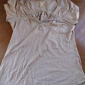 Ruff Hewn Tops - Ruff Hewn Women's Short Sleeve Tunic - Brown/Taupe